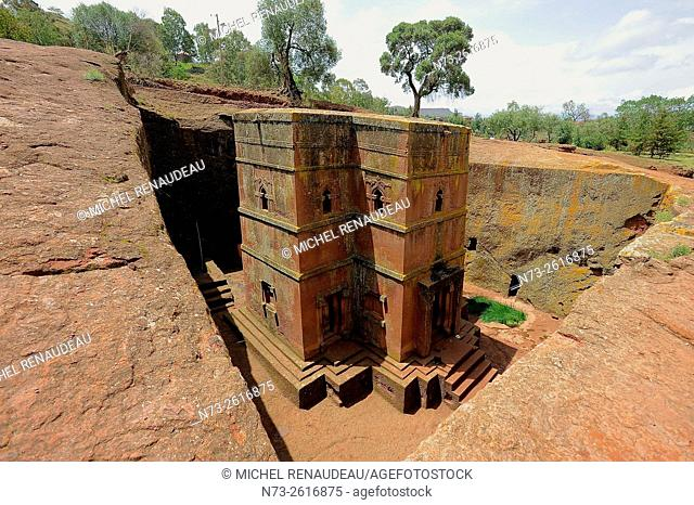 Ethiopia, Amhara Region, Lalibela, rock church of Bet Medhane Alem, Beta Ghiorghis