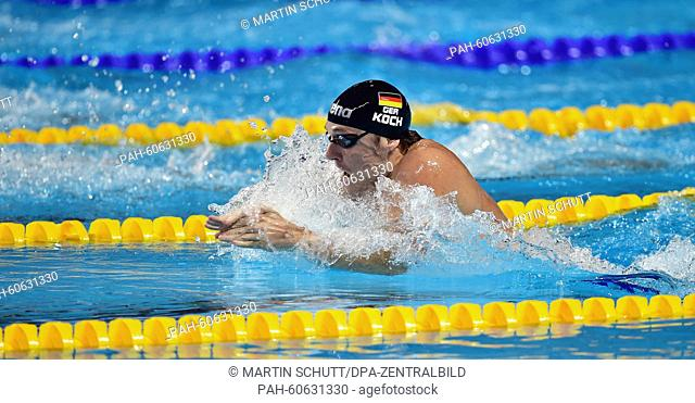 Gold medalist Marco Koch of Germany in action during the Men's 200m Breaststroke Final of the 16th FINA Swimming World Championships at Kazan Arena in Kazan