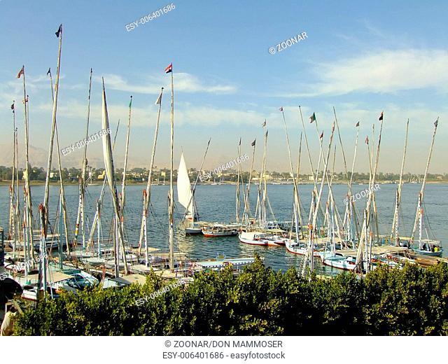 Sailboats at Luxor riverbank, Egypt