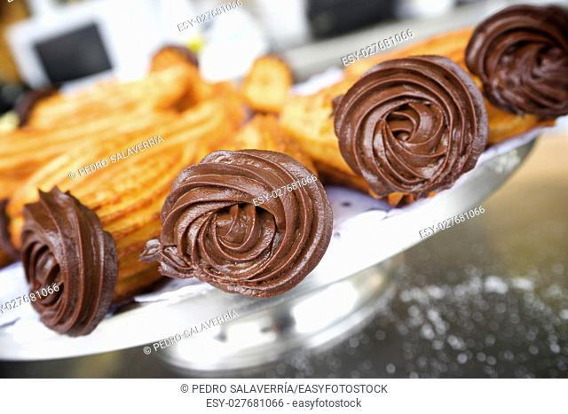Group of typical churros at a stall, Spain