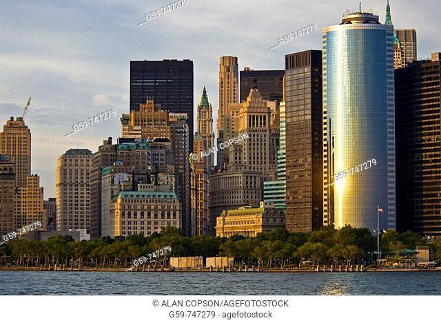 USA New York City Manhattan Lower Manhattan Financial District Skyline