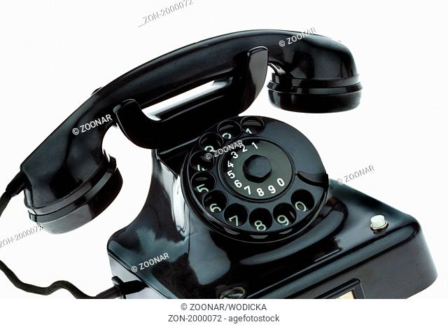 Antique, old retro phone. Fixed phone