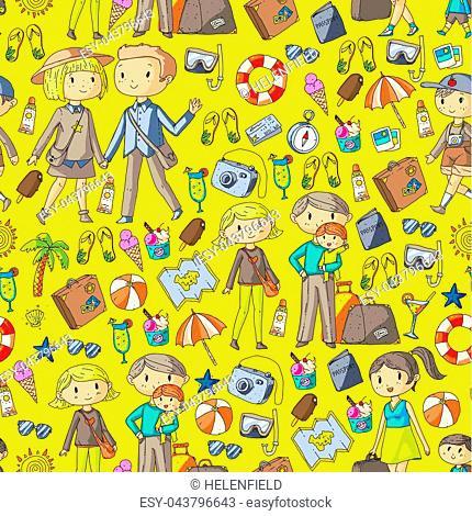 Family with children travel Mother, father, sister, brother. Boys and girls. Kindergarten, preschool children. School kids