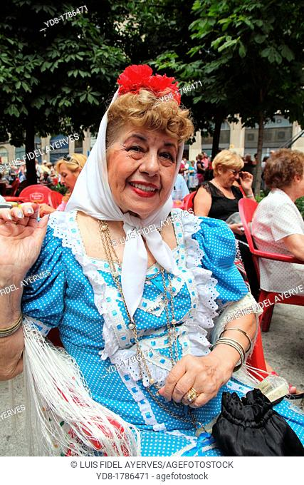Woman wearing traditional costume, Madrid, Spain, Europe