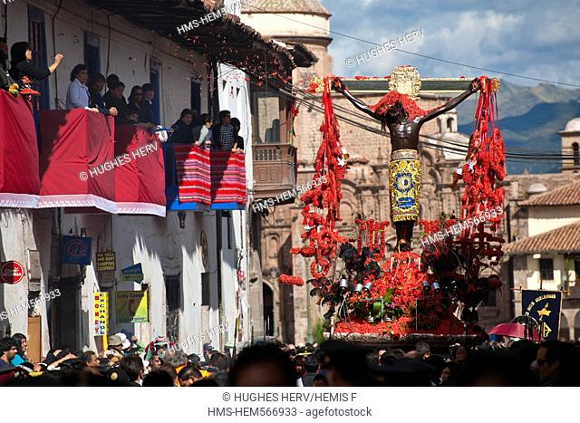 Peru, Cuzco Province, Cuzco, listed as World Heritage by UNESCO, Easter, Easter Monday, a procession of Christ on Earthquakes, black christ