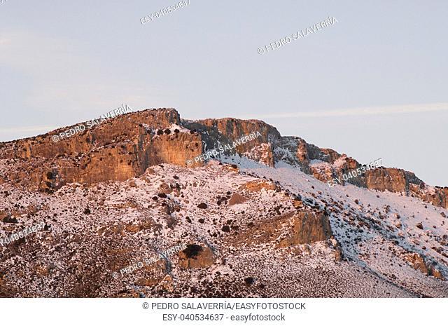 Snowy landscape at sunrise, Zaragoza Province, Aragon, Spain