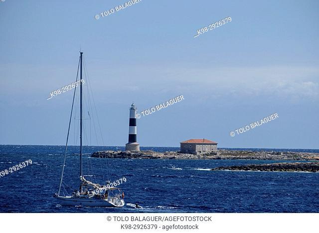 Illa des Porcs lighthouse, far d'en Pou, es Freus, reserva marina del parque natural de Ses Salines, Ibiza, Balearic Islands, Spain