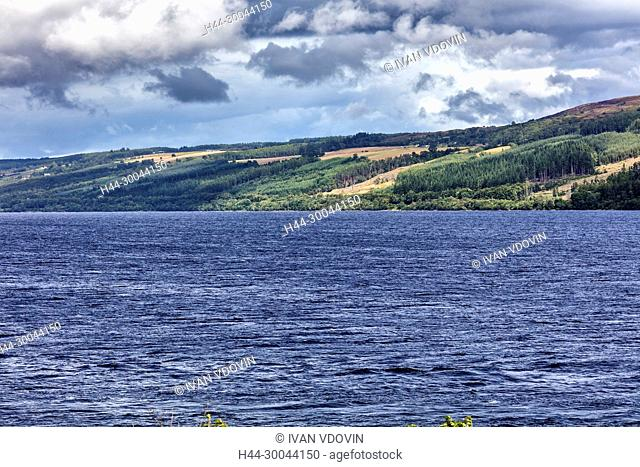 Loch Ness near Urquhart castle, Inverness-shire, Scotland, UK