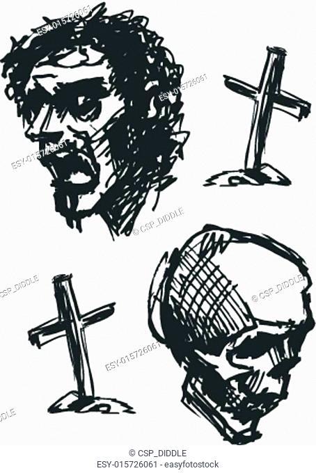 zombie head, hand drawn, vector eps8