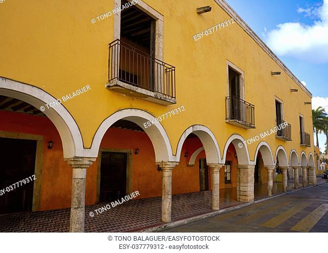 Valladolid city arcs arcade in Yucatan Mexico