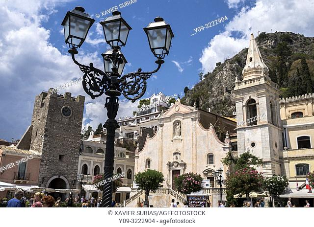 Tower Clock and San Giuseppe church, Taormina, Sicily, Italy