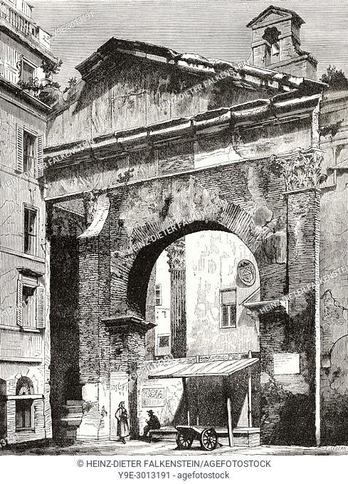 Porticus Octaviae, Portico of Octavia, Rome, Italy, 19th Century