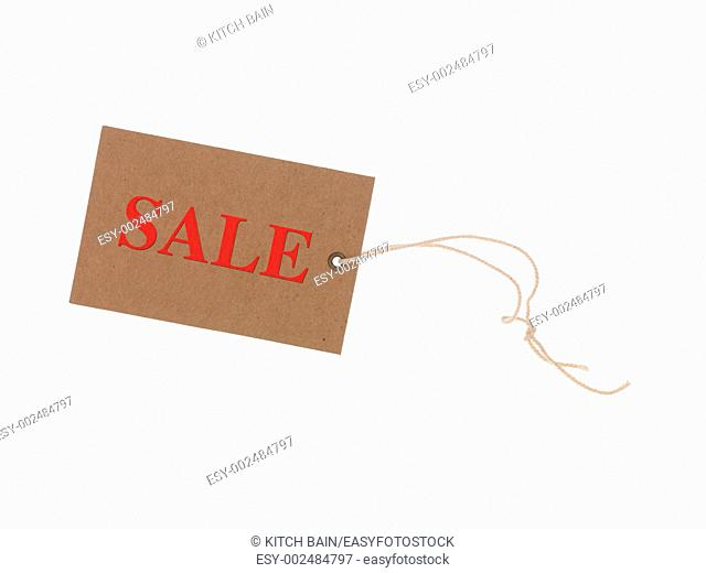 A retail shopping tag isolated against a white background
