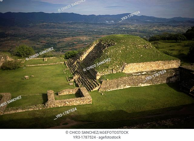 View of the Valley of Oaxaca and a building of the Zapotec city of Monte Alban, Oaxaca, Mexico
