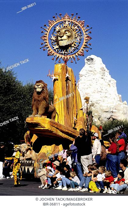 USA, United States of America, California: Los Angeles, Disneyland, parade with characters of Lion King