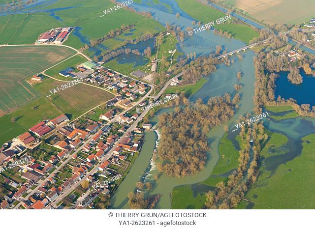 France, Meuse (55), village of Charny sur Meuse and Meuse river flood in winter (aerial view)