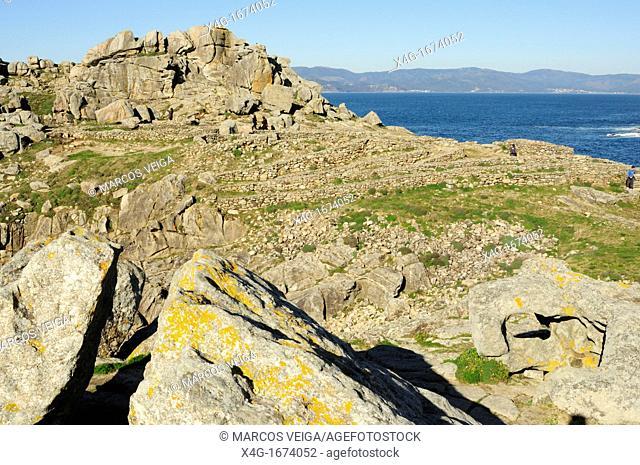 Ruins of the human settlement of Castro de Baroña  Porto do Son, Galicia, Spain