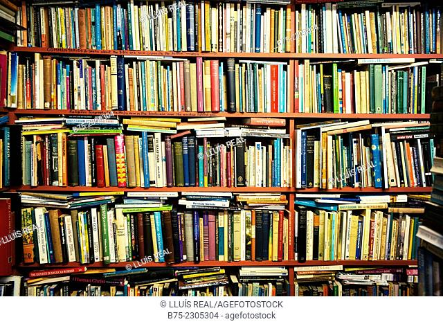 Closeup of a shelf of a bookstore in North Yorkshire, Yorkshire Dales, England, UK