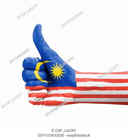 Hand with thumb up, Malaysia flag painted