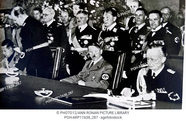 Photographic print of Adolf Hitler and other members of the Reich Cabinet, during the Second World War. Dated 20th Century