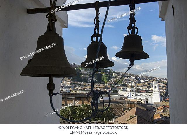 Bells in the bell tower of the Monastery of St. Francis, commonly known as el San Francisco, a 16th-century Roman Catholic complex of the historic center...