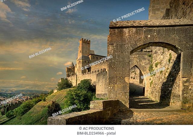 Arch entrance to castle in Carcassonne, Languedoc-Roussillon, France
