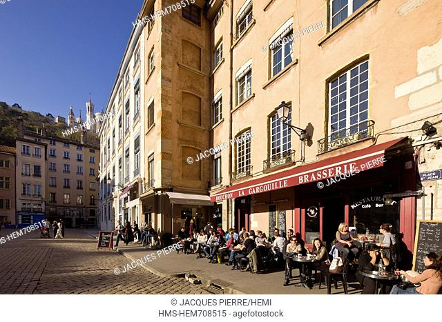 France, Rhone, Lyon, historical site listed as World Heritage by UNESCO, Vieux Lyon Old Town, Saint Jean District, Place St Jean and view on Notre Dame de...