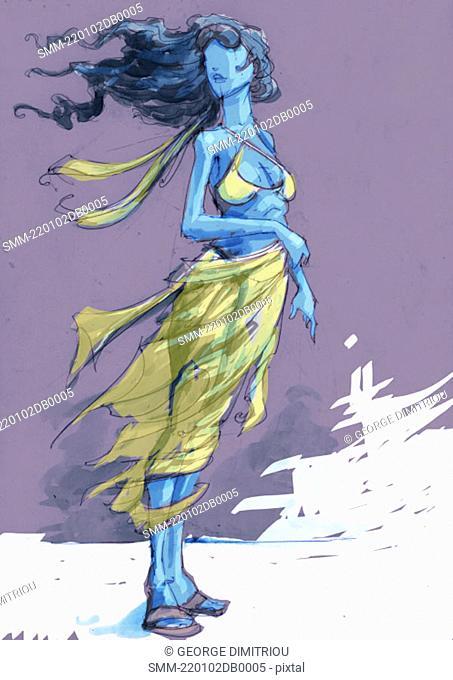 Woman on a windy beach
