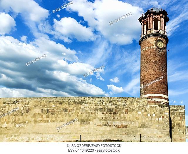 Exterior view of Tray Minaret or Clock tower, Erzurum Castle, Erzurum, Turkey