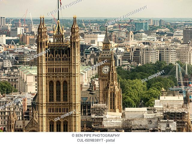 View over Westminster and Houses of Parliament from Millbank Tower, London, UK