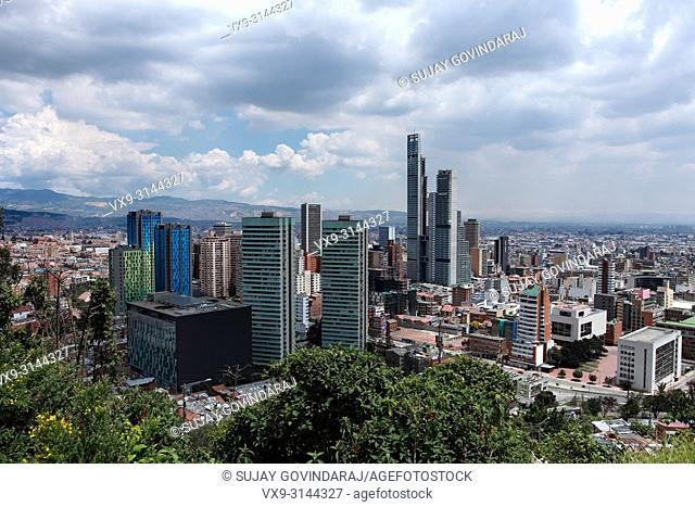 Bogota, Colombia - July 16, 2017: Looking at the downtown district of the Andean capital city of Bogota, Colombia in South America, from a higher elevation