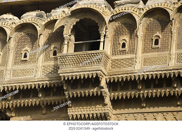 Beautifully carved windows situated in the fort complex, Jaisalmer, Rajasthan, India