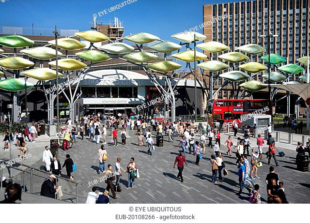 View of Stratford Shopping Centre showing the Stratford Shoal sculpture