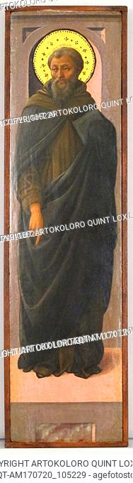 Male Saint, ca. 1447–1469, Italian, Florence, Tempera and gold on wood, 19 x 5 in. (48.3 x 12.7 cm), Paintings, Workshop of Fra Filippo Lippi (Italian