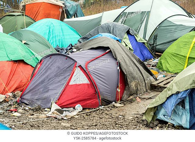 Dunkerque, France. Dozen of small tents and sheds form the makeshift camp for illegal migrants