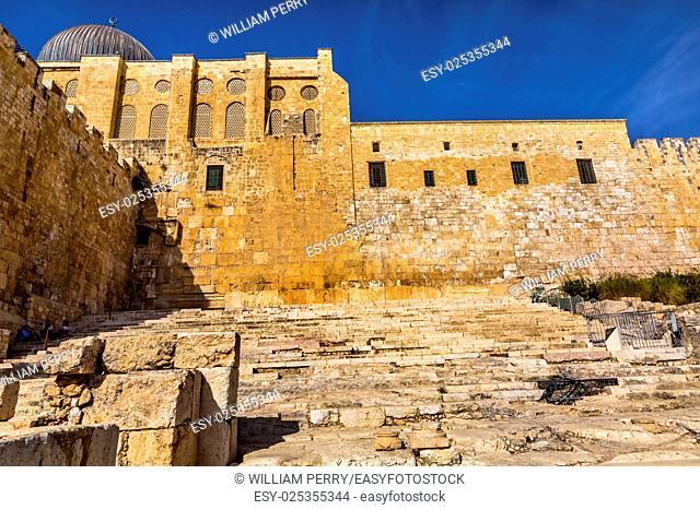 Ancient Steps Second Jewish Temple Archaelogical Park Jerusalem Israel