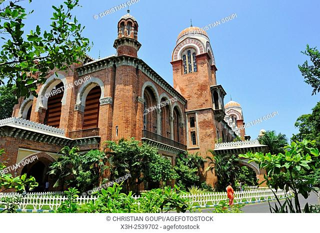 Senate House building, University of Madras, Wallajah Road, along Marina Beach, Chennai Madras, Coromandel Coast, Tamil Nadu state, South India, Asia
