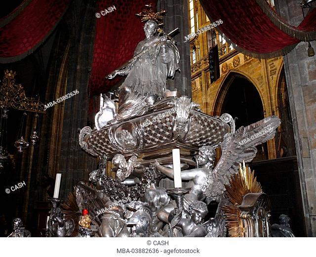 Czech republic, Prague, Hradschin, Sankt-Veits-Dom, monument, sacred Johannes of Nepomuk, interior view, Bohemia, the Czech republic, Haupstadt, castle-quarter