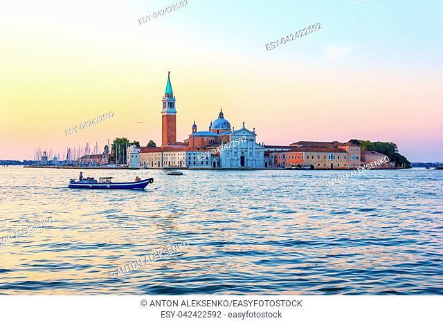 San Giorgio Maggiore in Venice at sunrise, Italy