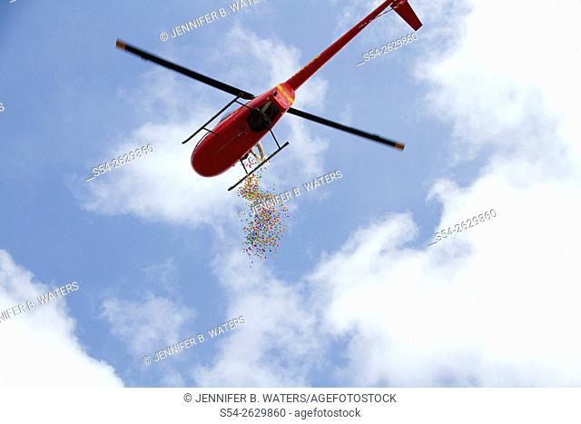 Easter eggs dumped out of a helicopter for a children's Easter egg hunt in Pullman, Washington