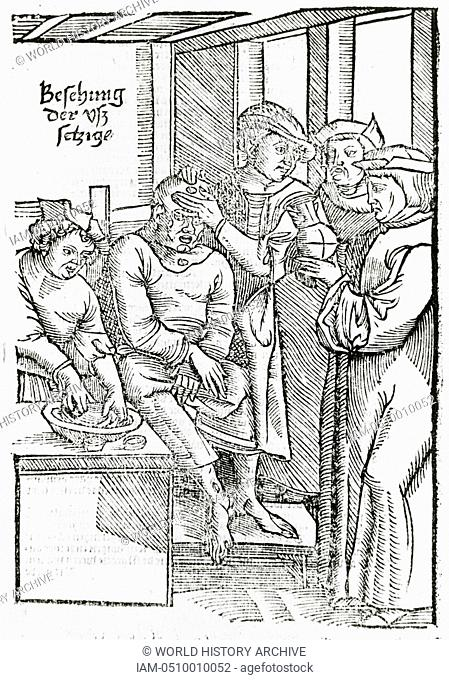 Physicians examining of a patient with Leprosy. Because of the fear of contracting Leprosy by contact with a sufferer, lepers were considered unclean and...