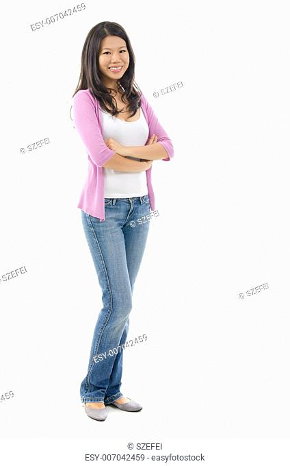 Full body Southeast Asian woman smiling over white background
