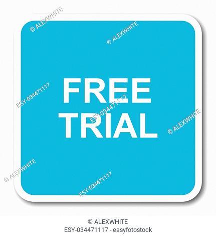 free trial blue square internet flat design icon