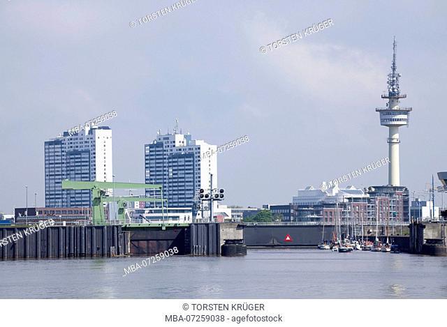 Harbor with skyline, Columbus Center, radar tower, Bremerhaven, Bremen, Germany