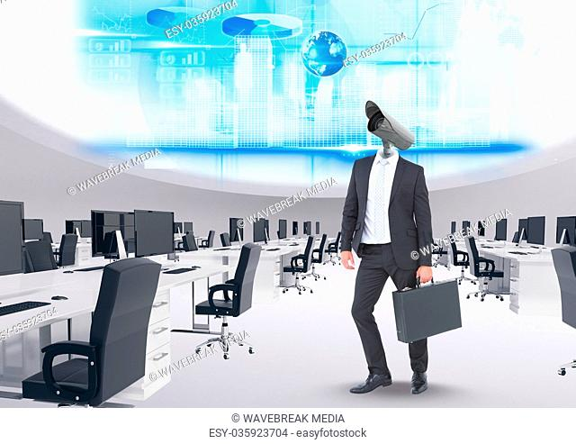 Businessman with CCTV head with interface