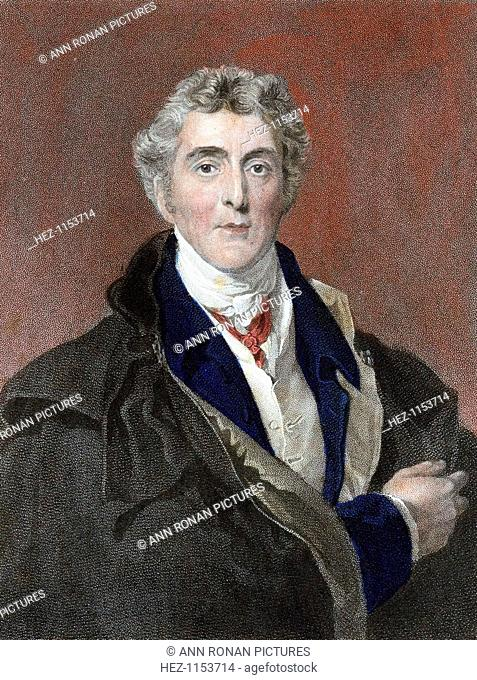 Arthur Wellesley, 1st Duke of Wellington, British soldier and statesman. Wellesley (1769-1852) commanded the victorious British forces in the Peninsular War