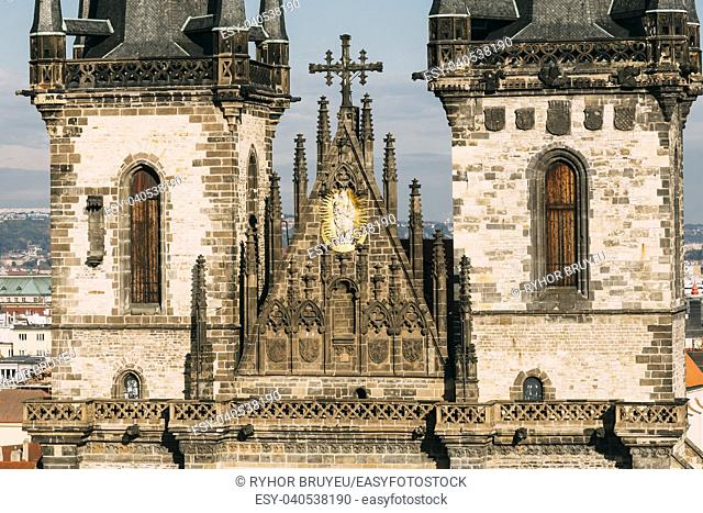 Close up of towers of Church Of Our Lady Before Tyn In Old Town Square in Prague, Czech Republic