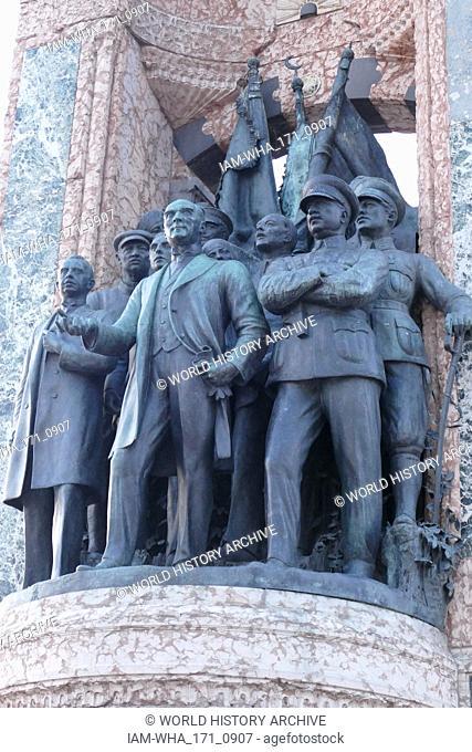 The Republic Monument, Taksim Square in Istanbul, Turkey, commemorates the formation of the Turkish Republic in 1923. Designed by Italian sculptor Pietro...