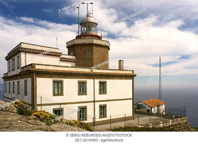 Way of St. James, Jacobean Route. Finis Terrae light house. Fisterre, Finisterre, A Coruña. Finisterre Lighthouse is the most western and emblematic of Europe