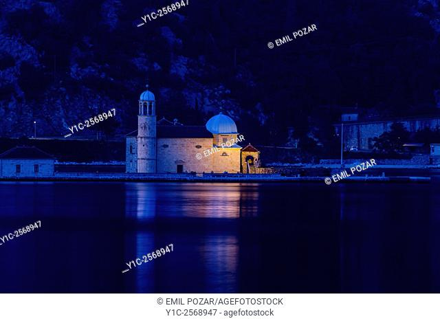 Our Lady of Rocks, Perast by night, Bay of Kotor, Montenegro